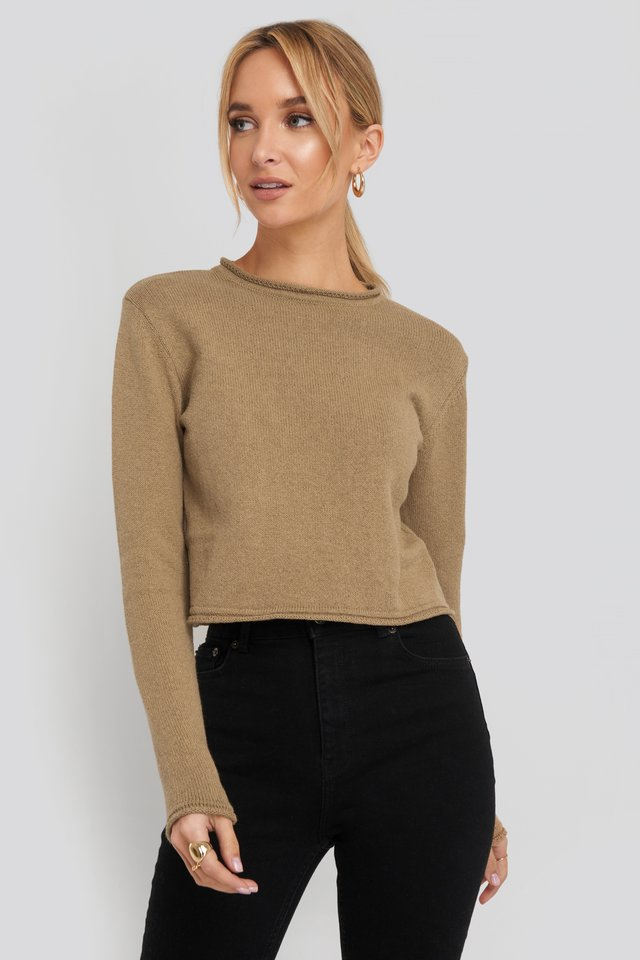 Recycled Cropped Sweater Brown