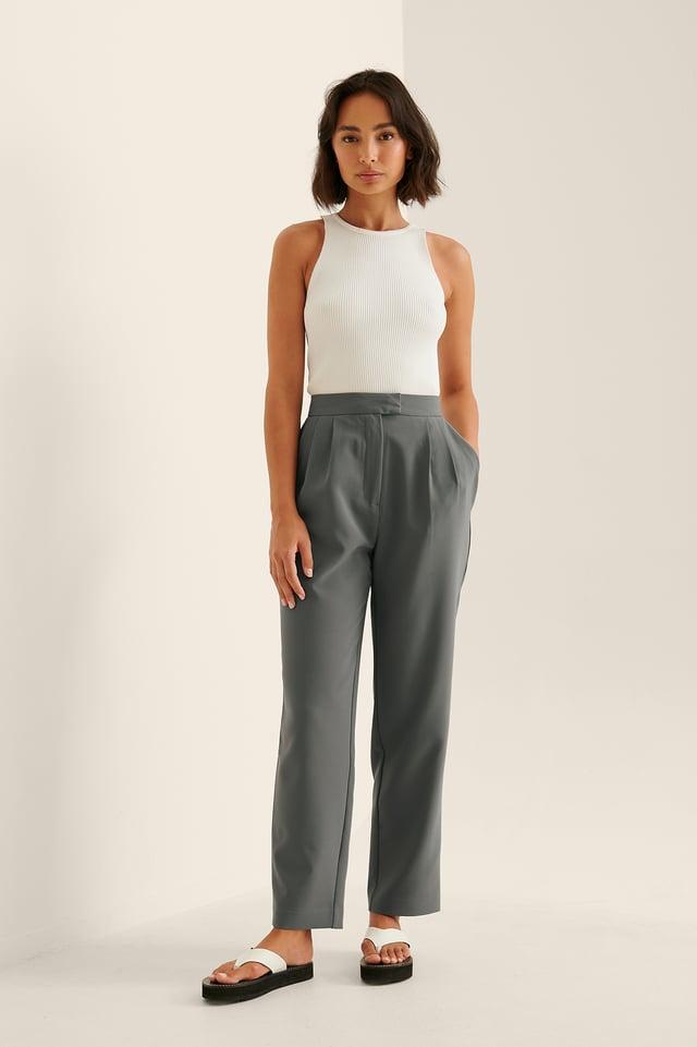 Dark Grey Darted Elastic Waist Pants