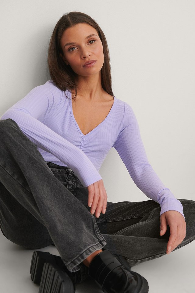 Lilac Recycled Front Rouched Ribbed Top
