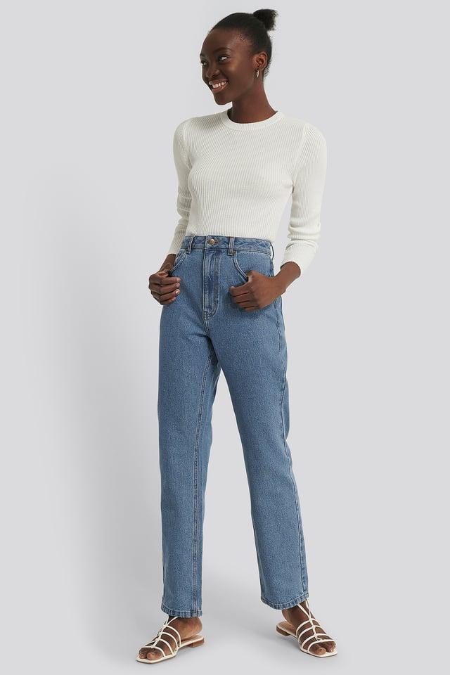 Raka Jeans Med Hög Midja Mid Blue