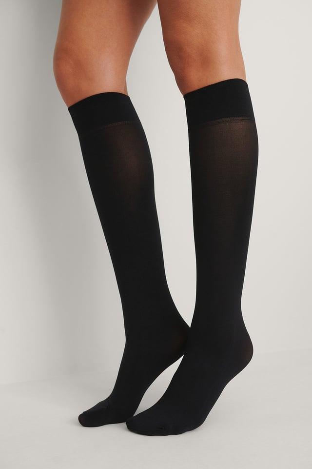 Black Recycled Knee High Socks 2-pack 40 DEN