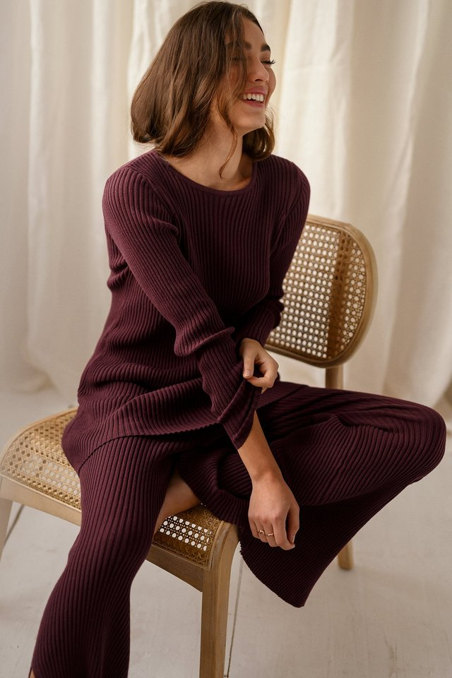 Recycled Longline Ribbed Sweater Burgundy