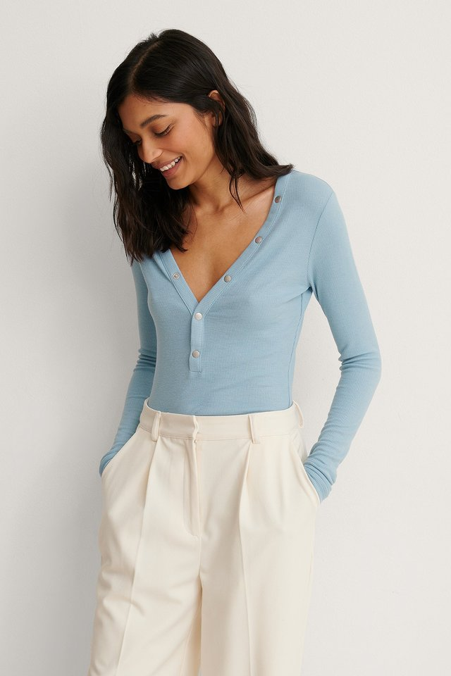 Dusty Blue Recycled Press Button Rib Top