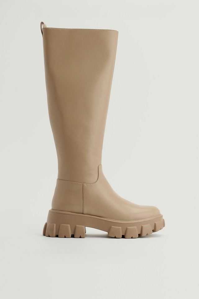 Taupe Recycled Profile Sole Shaft Boots