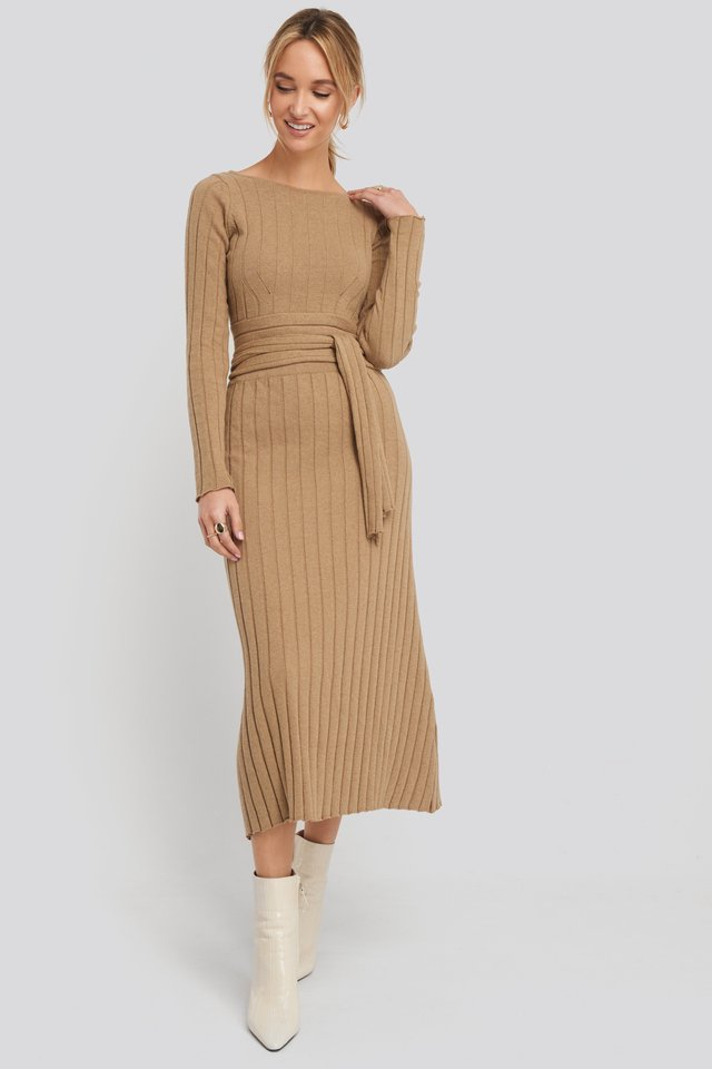 Recycled Ribbed Knit Midi Skirt Brown