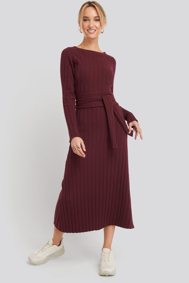 Burgundy Recycled Ribbed Knit Midi Skirt