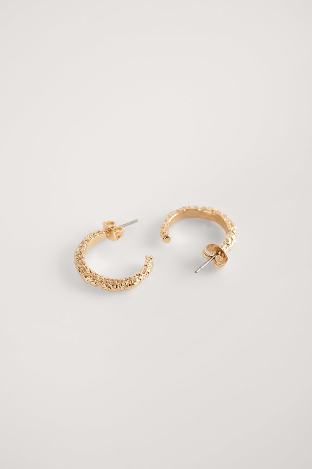 Gold Recycled Hammered Hoops