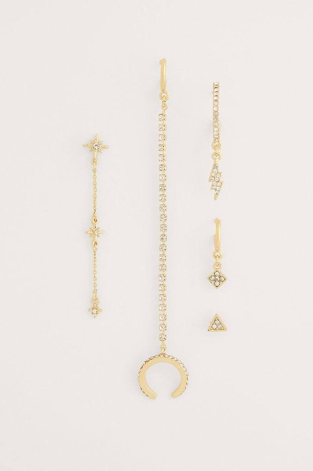 Gold Recycled Sparkling Earring Set