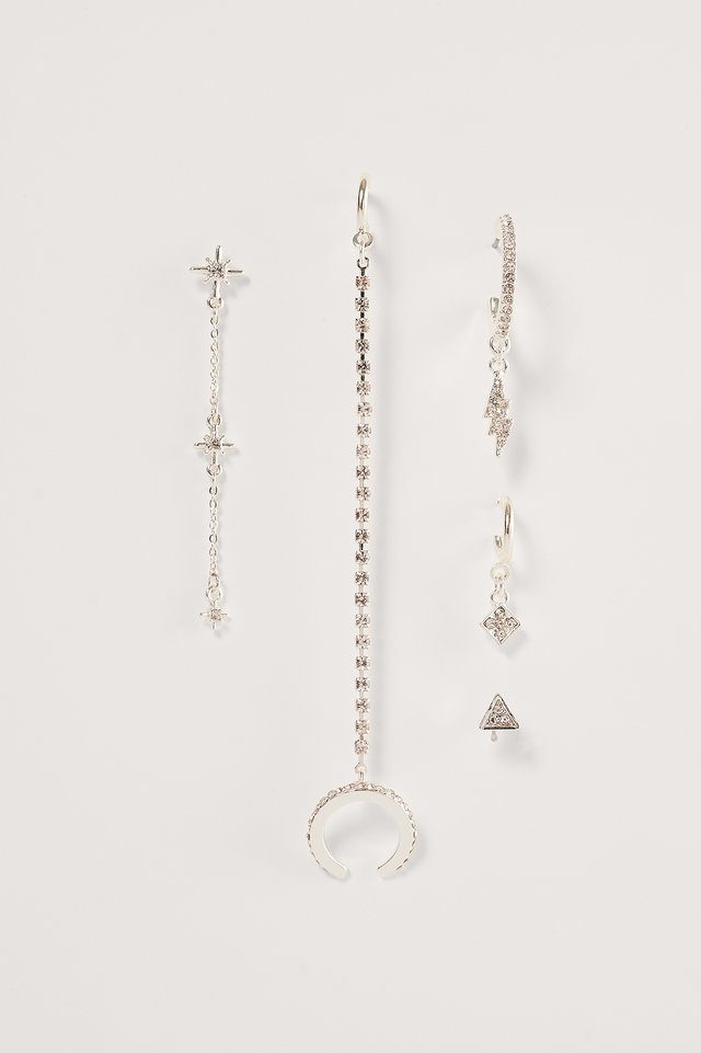 Silver Recycled Sparkling Earring Set