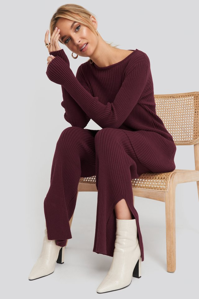 Recycled Split Hem Ribbed Knit Pants Burgundy