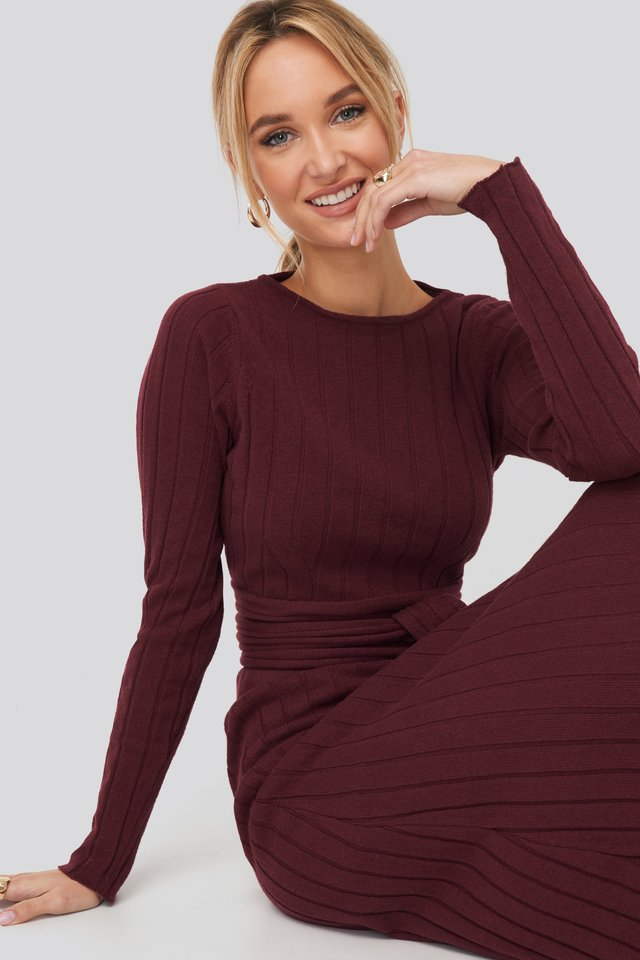 Recycled Tie Waist Cropped Ribbed Sweater Burgundy