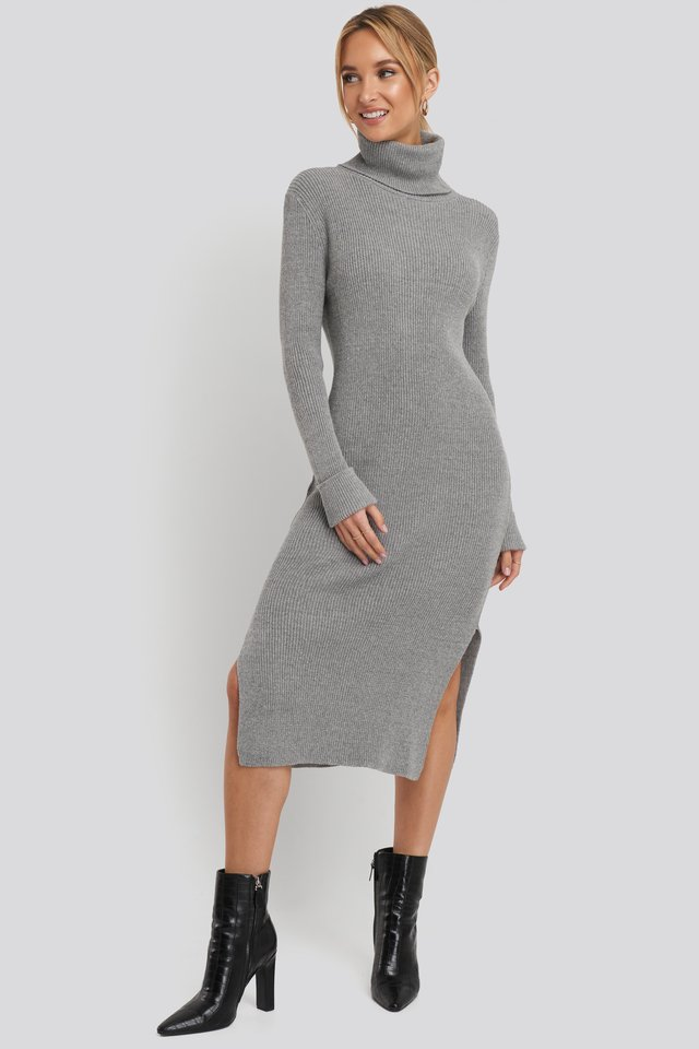 Recycled Turtle Neck Split Hem Sweater Dress Grey Marl