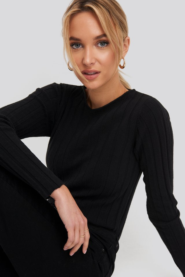 Recycled V- Shape Boat Neck Ribbed Sweater Black