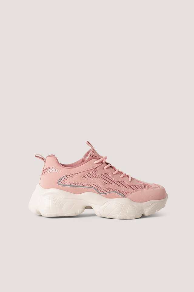 Reflective Detailed Trainers Dusty Pink