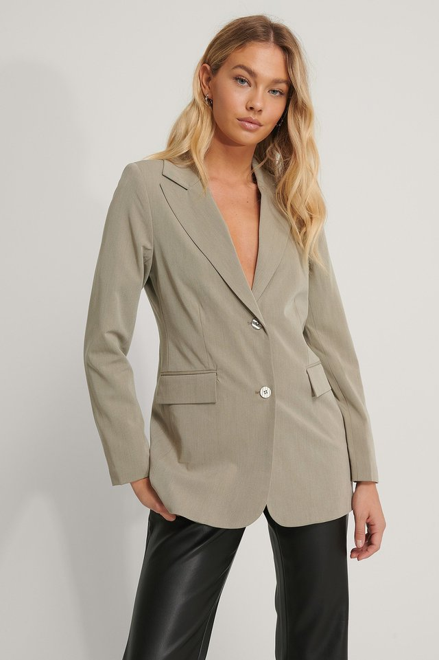 Blazer Med Lös Passform Dusty Light Green