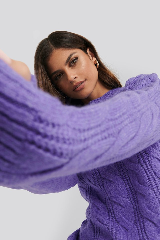 Regular Cable Knitted Sweater Purple