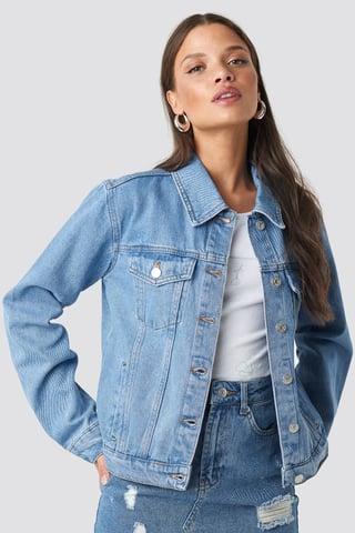 Mid Blue Regular Fit Denim Jacket