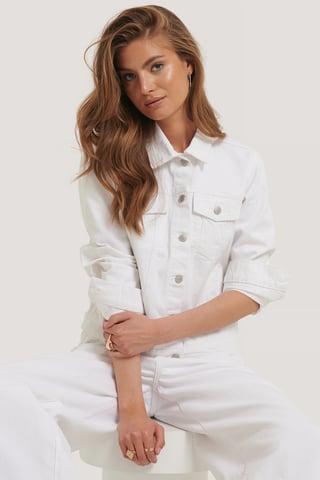 White Jeansjacke Regular Fit