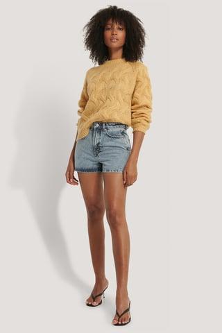 Light Blue Regular Hem Denim Shorts