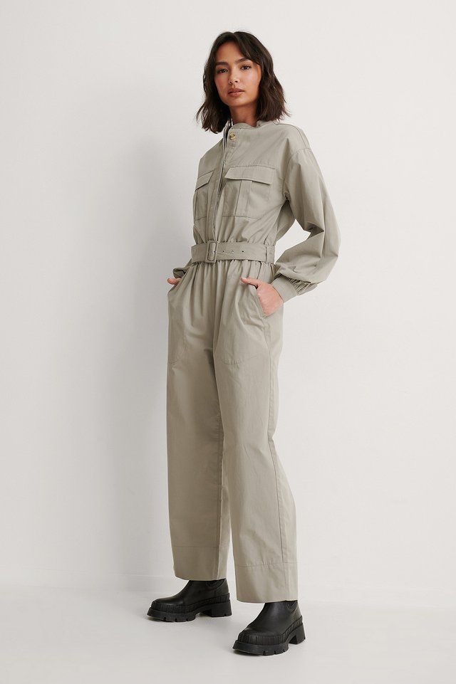 Beige Organic Relaxed Belted Jumpsuit