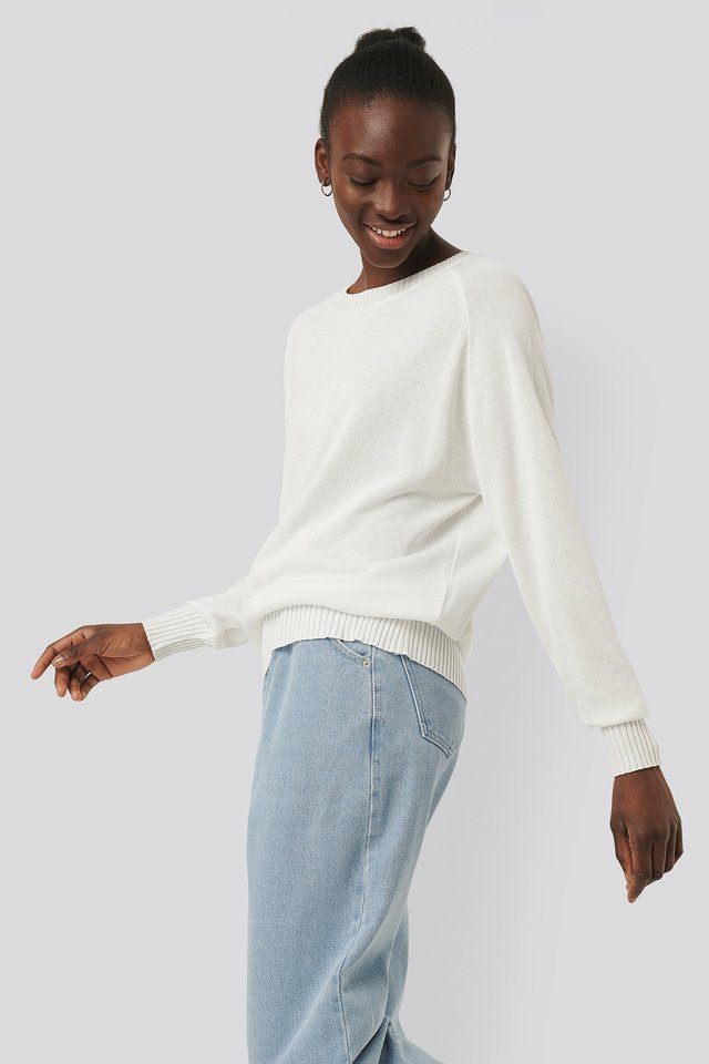 Relaxed Crew Neck Sweater Ecru