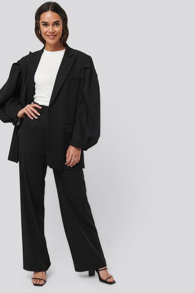 Relaxed Fit Suit Pants Black