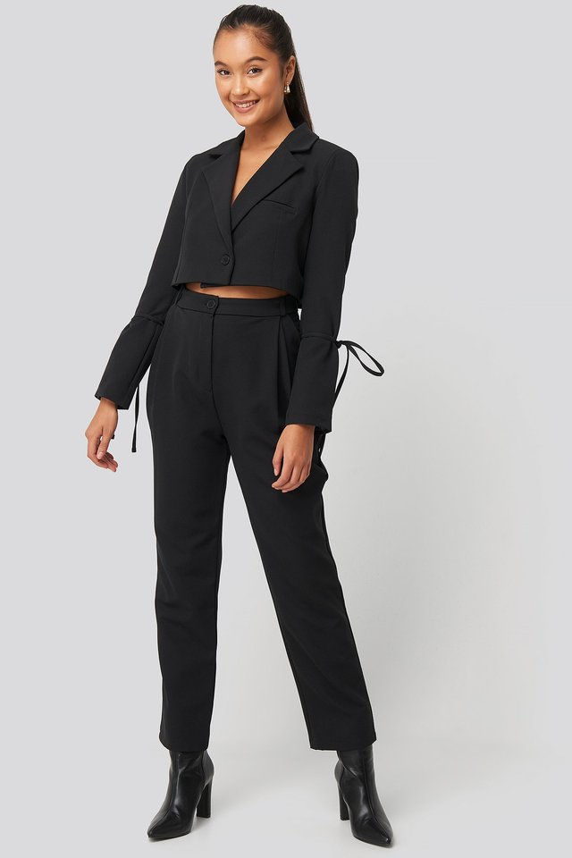 Relaxed Fit Tailored Pants Black