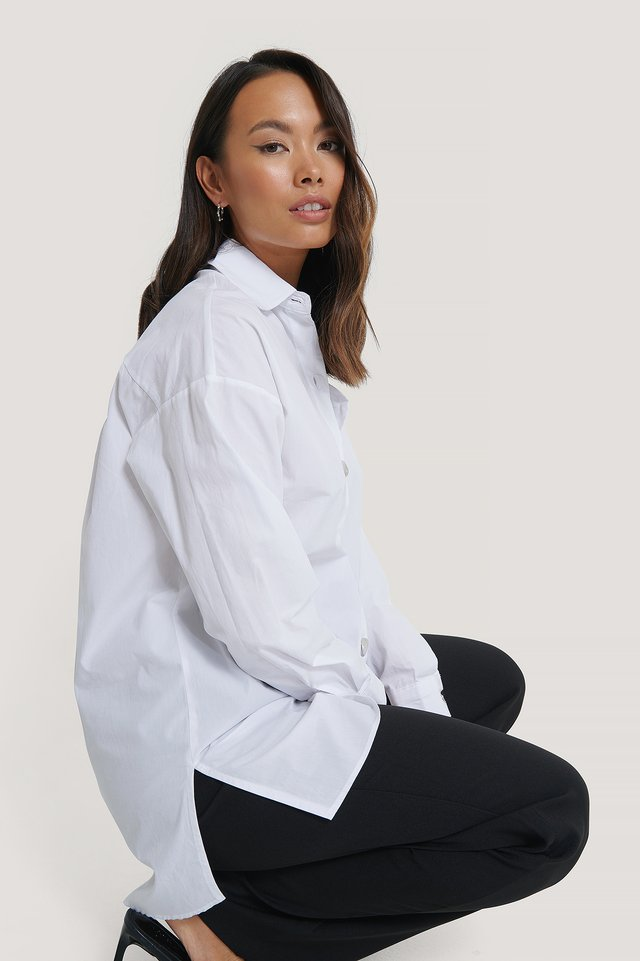 Relaxed Shirt with Metal Buttons White