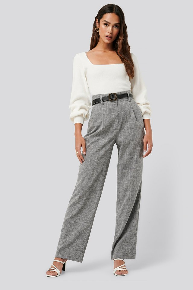 Grey Relaxed Suit Trousers