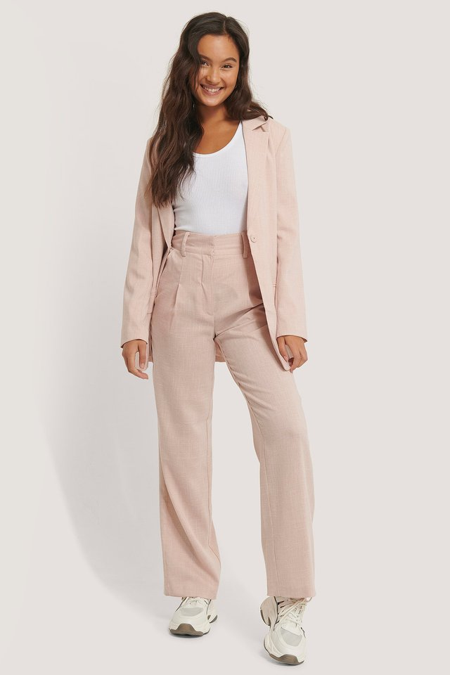 Pink Relaxed Suit Trousers