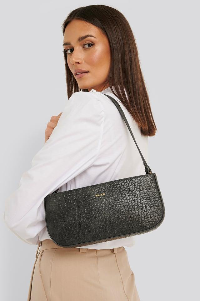 Reptile Baguette Bag Dark Grey