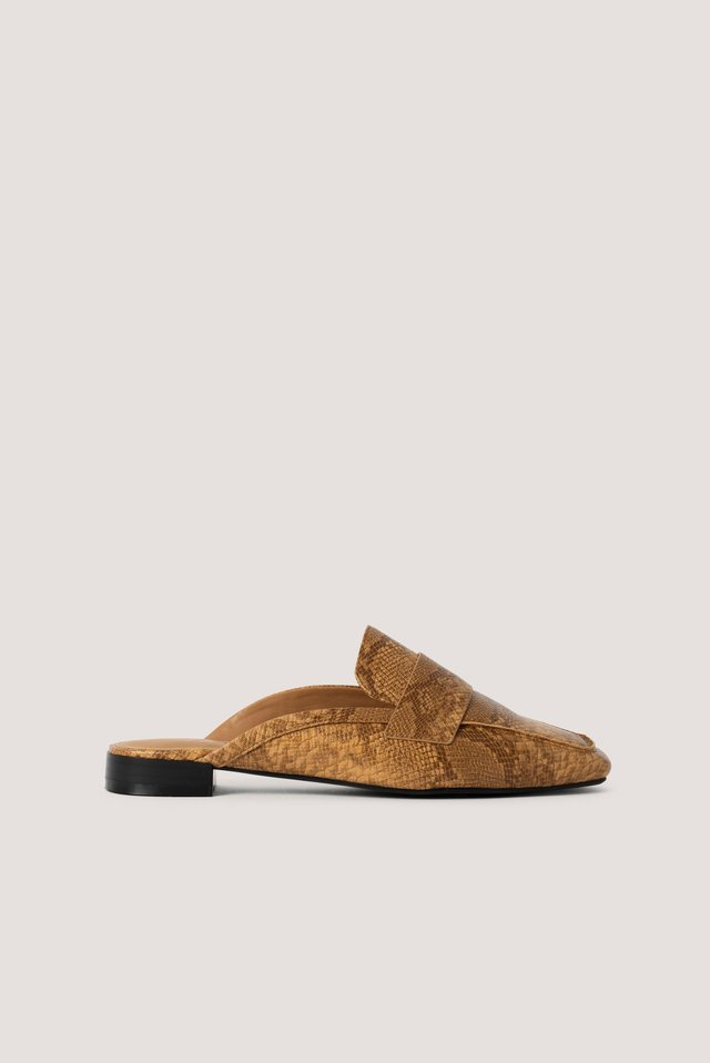 Reptile Slip In Loafers Camel