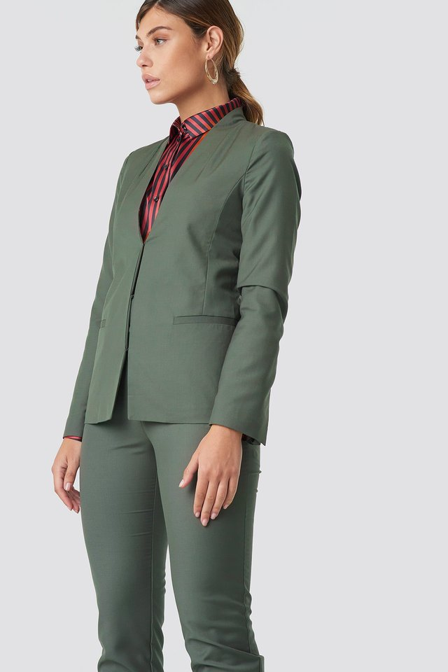 Collarless Blazer Dark Green
