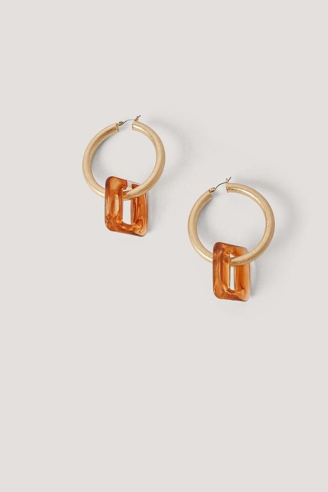Gold Resin Square Hoop Earrings