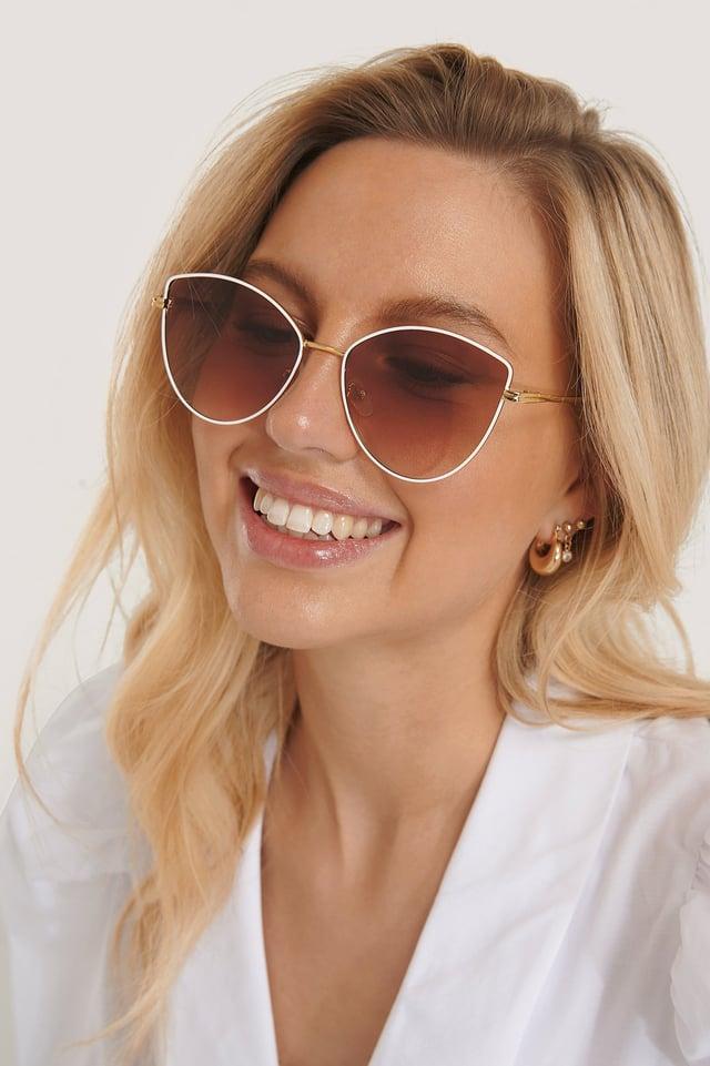 White Retro Cateye Sunglasses
