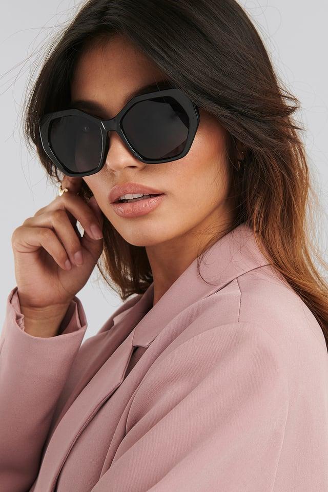 Black Retro Octagon Sunglasses