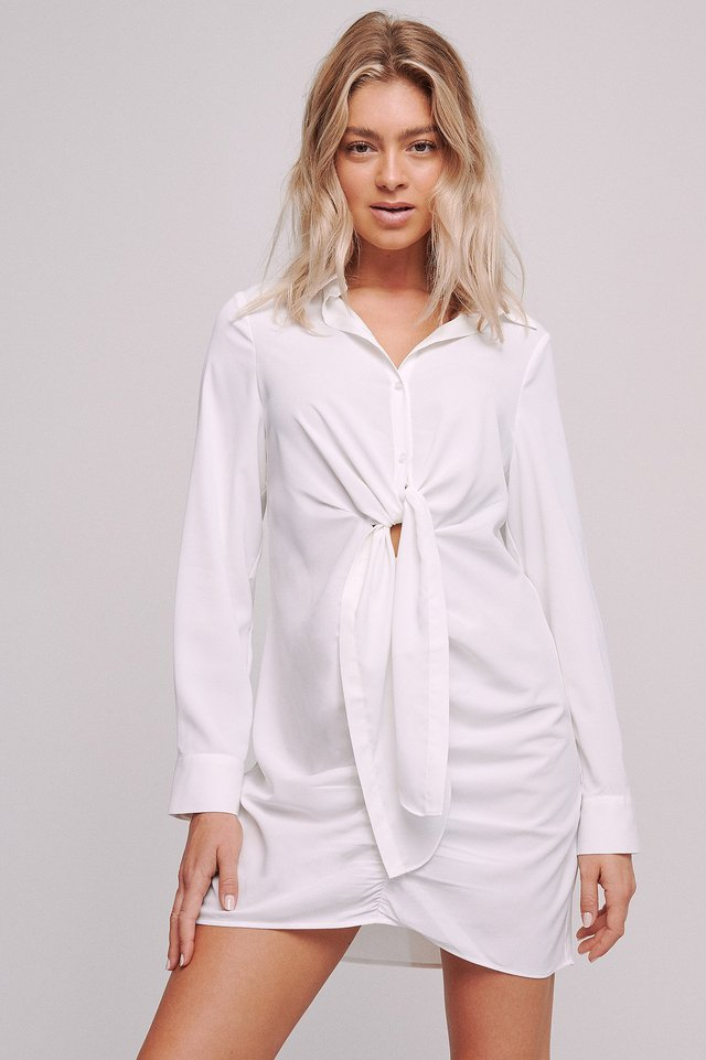 Front Draped Mini Dress Offwhite
