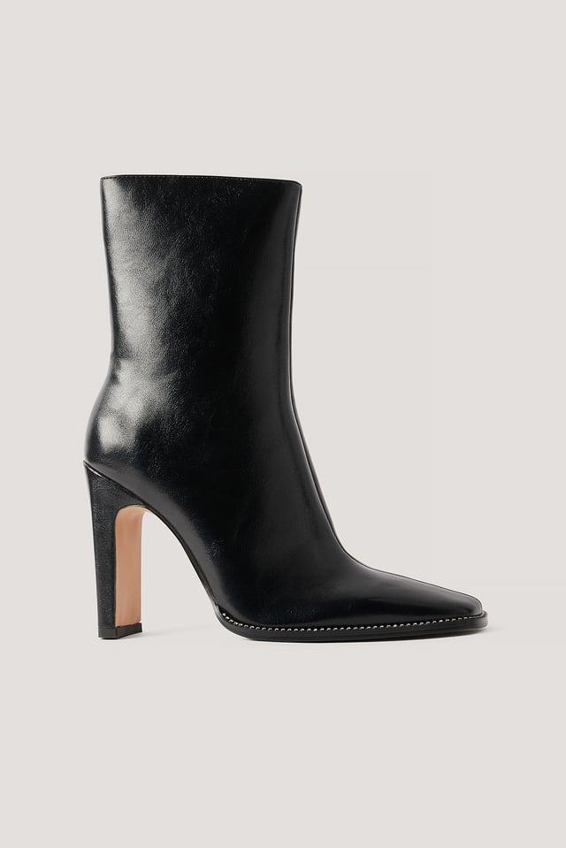 Rhinestone Detailed High Heel Boots Black