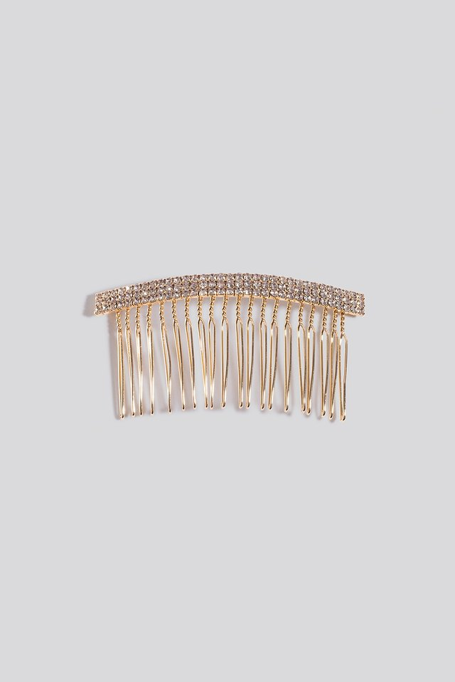 Rhinestone Haircomb Gold