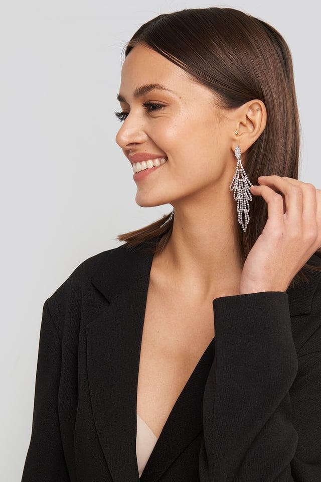 Rhinestone Ornament Drop Earrings Silver