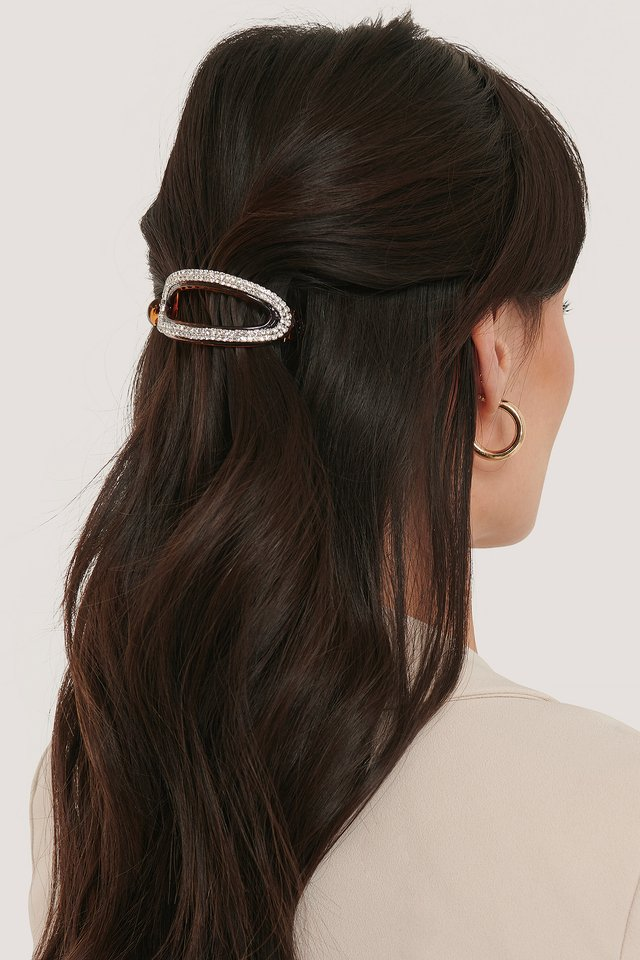 Rhinestone Rounded Hairclip Brown