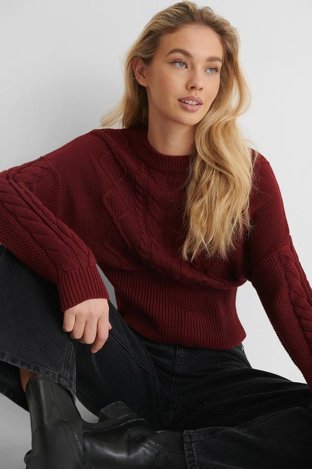 Burgundy Ekologiczny Karbowany Sweter Z Dzianiny