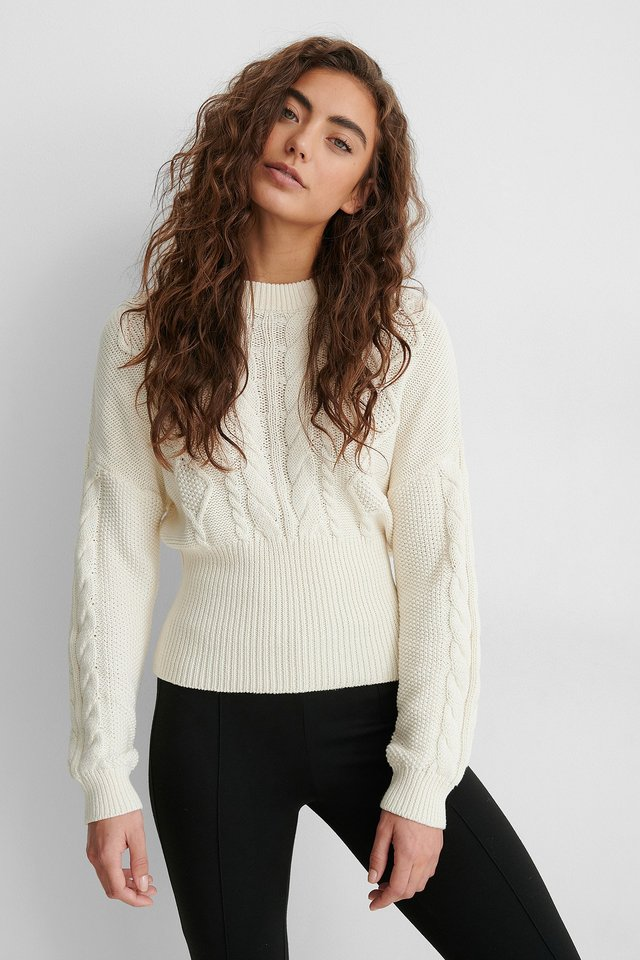 White Rib Detail Cable Knitted Sweater