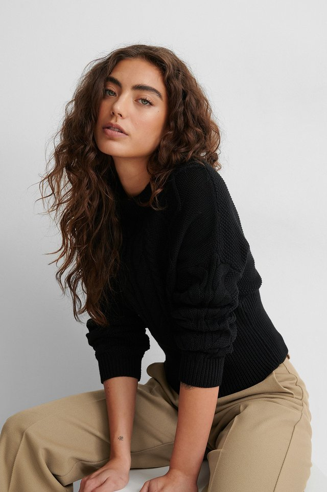Black Organic Rib Detail Cable Knitted Sweater