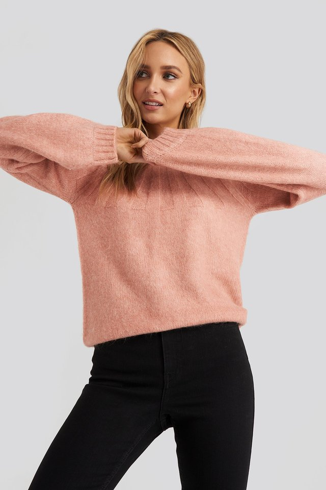 Dusty Pink Rib Detail Knitted Sweater