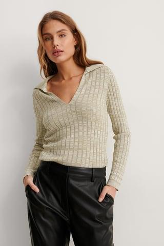 Beige Melange Organic Rib Knit Long Sleeve Top