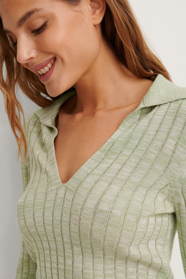 Green Melange Organic Rib Knit Long Sleeve Top