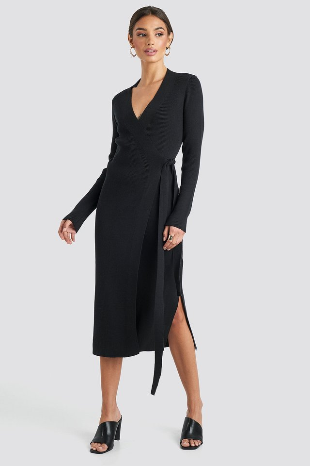 Rib Knitted Dress Black