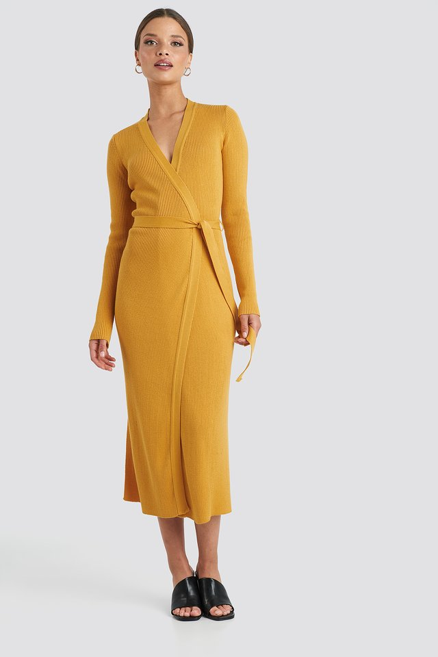 Rib Knitted Dress Mustard