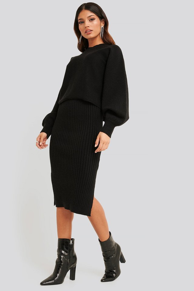 Rib Knitted Skirt Black